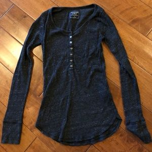 Abercrombie & Fitch Blue Gray Henley Thermal S Top